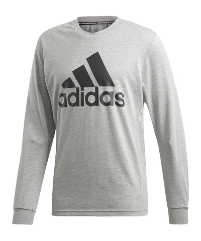 ADIDAS MEN'S MUST HAVES BADGE OF SPORT LONG SLEEVE SHIRT - GREY/BLACK