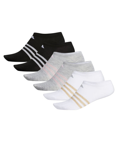 ADIDAS WOMEN'S SUPERLITE SUPER NO SHOW SOCKS - 6 PACK WHITE/GREY/BLACK