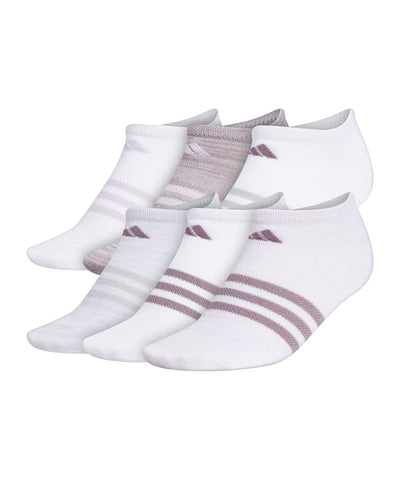 ADIDAS WOMEN'S WOMENS 3S ANKLE SOCKS - 6 PACK - PURPLE/WHITE/GREY