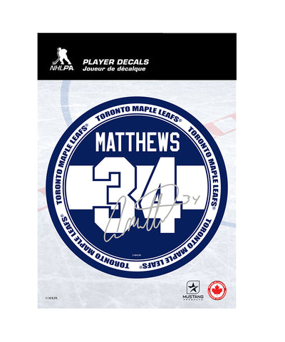 "AUSTON MATTHEWS TORONTO MAPLE LEAFS 5""X7"" PLAYER DECAL"