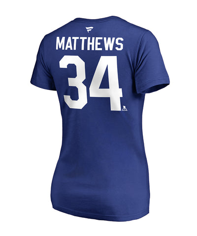AUSTON MATTHEWS TORONTO MAPLE LEAFS FANATICS WOMEN'S NAME AND NUMBER T SHIRT