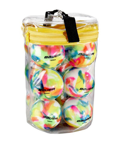 BAUER MULTI COLOURED HOCKEY BALLS - 12 PACK