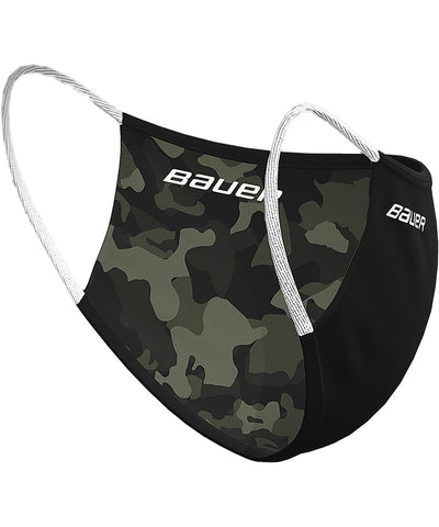 BAUER REVERSIBLE FABRIC FACE MASK - BLACK/CAMO