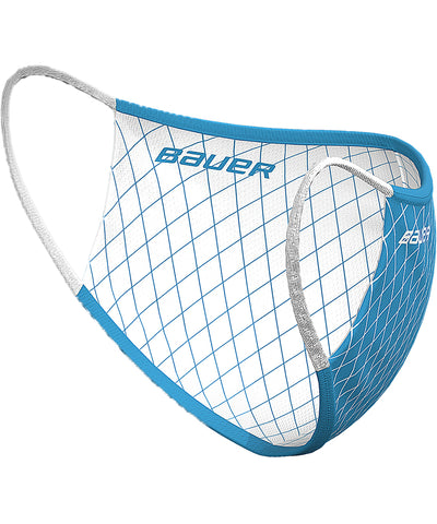 BAUER REVERSIBLE FABRIC FACE MASK - BLUE/WHITE