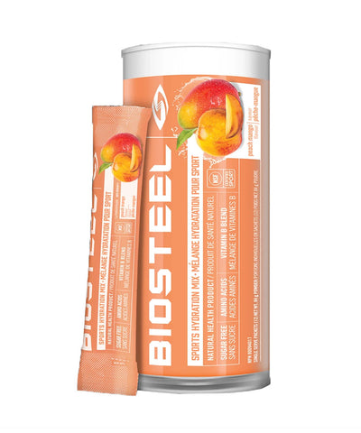 BIOSTEEL NATURAL HIGH PERFORMANCE SPORTS DRINK MIX TUBE - PEACH MANGO 12 PACK