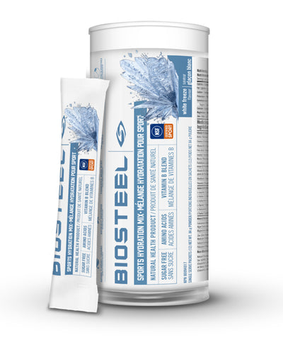 BIOSTEEL NATURAL HIGH PERFORMANCE SPORTS DRINK MIX TUBE - WHITE FREEZE 12 PACK