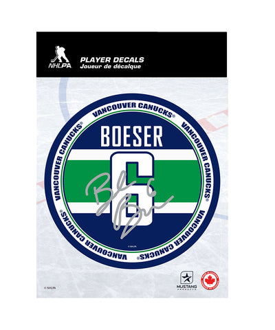 "BROCK BOESER VANCOUVER CANUCKS 5""X7"" PLAYER DECAL"