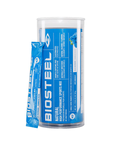 BIOSTEEL NATURAL HIGH PERFORMANCE SPORTS DRINK MIX TUBE - BLUE RASBERRY 12 PACK