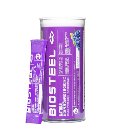 BIOSTEEL NATURAL HIGH PERFORMANCE SPORTS DRINK MIX TUBE - GRAPE 12 PACK