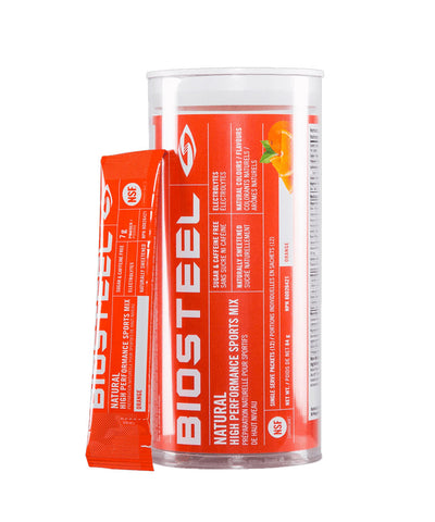 BIOSTEEL NATURAL HIGH PERFORMANCE SPORTS DRINK MIX TUBE - ORANGE 12 PACK