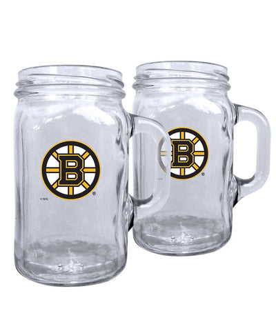 BOSTON BRUINS 2PK 16OZ MASON MUG SET