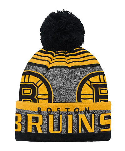 BOSTON BRUINS KID'S ALLOVER JACQUARD CUFF POM BEANIE