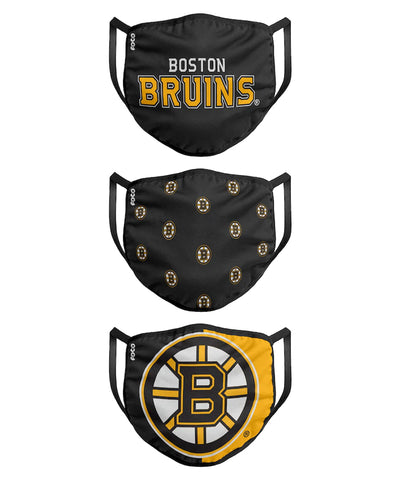 BOSTON BRUINS KIDS  FACE MASKS - 3 PACK