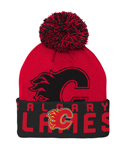 CALGARY FLAMES KID'S REDLINE CUFFED POM KNIT TOQUE
