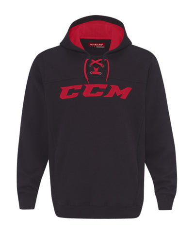 CCM MEN'S TRUE TO HOCKEY FLEECE HOODIE - BLACK/RED