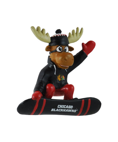 CHICAGO BLACKHAWKS SNOWBOARDING MOOSE ORNAMENT