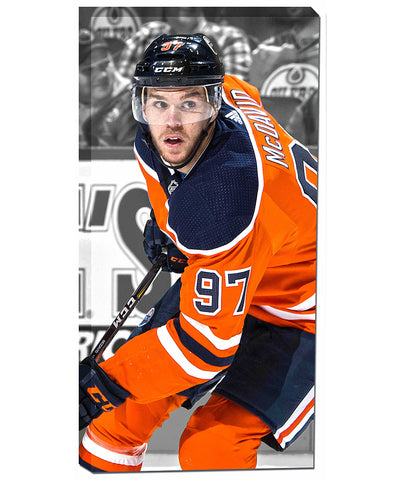 CONNOR MCDAVID EDMONTON OILERS AUTHENTIC CANVAS PRINT - 14X28