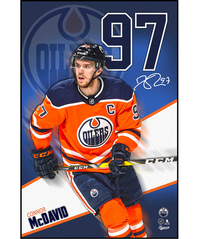 CONNOR MCDAVID EDMONTON OILERS AUTHENTIC POSTER PLAQUE - 22X34