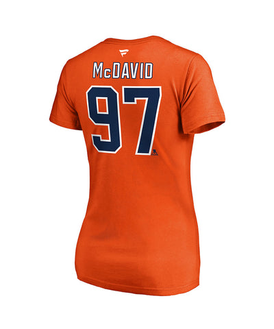 CONNOR MCDAVID EDMONTON OILERS FANATICS WOMEN'S NAME AND NUMBER T SHIRT