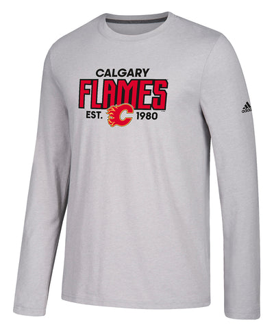 CALGARY FLAMES ADIDAS MEN'S GO TO PERFORMANCE ESTABLISHED LONGSLEEVE SHIRT