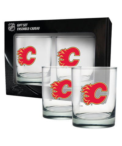 CALGARY FLAMES 2 PACK ROCK GLASS - ETCHED