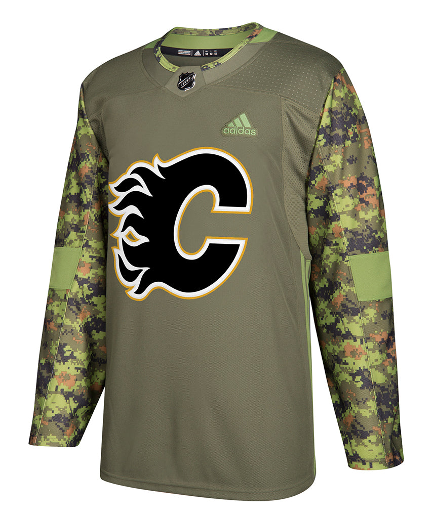 the latest a547d ace7f Hockey Pro Life Flames Jersey Authentic Calgary Adidas Camo ...