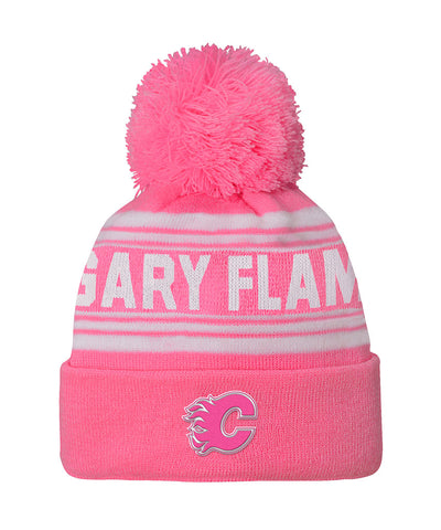 CALGARY FLAMES GIRL'S PINK CUFFED KNIT POM TOQUE