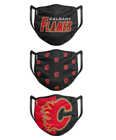 CALGARY FLAMES KIDS  FACE MASKS - 3 PACK