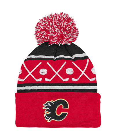 CALGARY FLAMES TODDLER HOCKEY KNIT POM TOQUE
