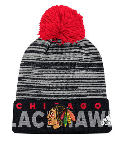 CHICAGO BLACKHAWKS ADIDAS CUFFED POM KNIT BEANIE