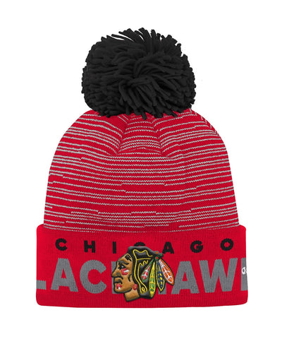 CHICAGO BLACKHAWKS ADIDAS JR CUFFED POM KNIT BEANIE