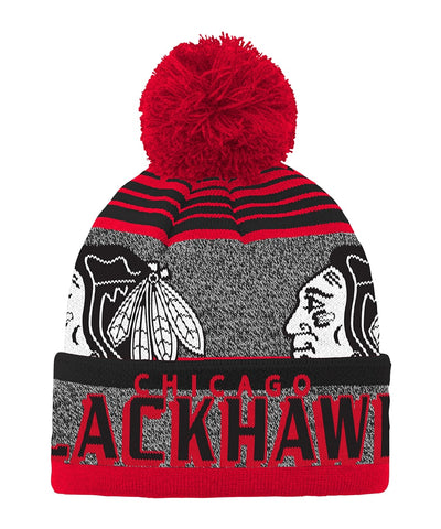 CHICAGO BLACKHAWKS KID'S ALLOVER JACQUARD CUFF POM BEANIE