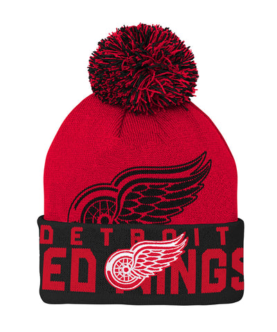 DETROIT RED WINGS KID'S REDLINE CUFFED POM KNIT TOQUE