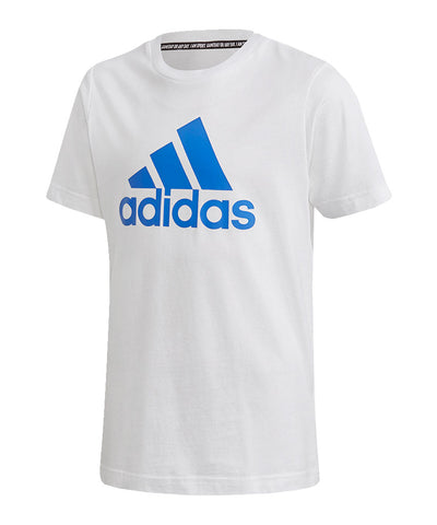 ADIDAS KID'S MUST HAVE BADGE OF SPORTS T SHIRT - WHITE/BLUE