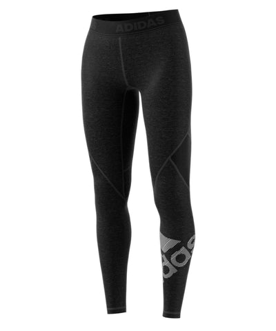 ADIDAS WOMEN'S ALPHSKIN HEATHERED BADGE OF SPORT LEGGINGS - BLACK
