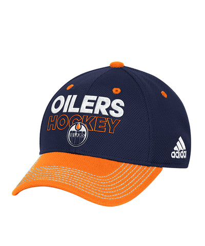 714b49279c7 ... clearance edmonton oilers adidas sr locker room structured flex hat  d9a26 61abc