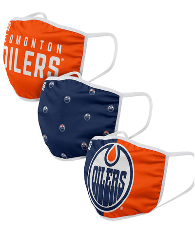 EDMONTON OILERS ADULT FACE MASKS - 3 PACK