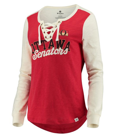 FANATICS OTTAWA SENATORS WOMEN'S TRUE CLASSICS LACE UP LONGSLEEVE SHIRT