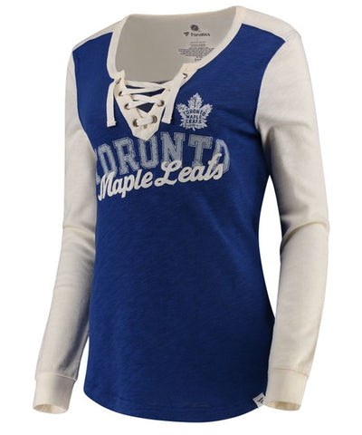 c56df680 FANATICS TORONTO MAPLE LEAFS WOMEN'S TRUE CLASSICS LACE UP LONGSLEEVE SHIRT.  Clearance