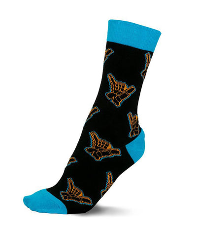 GONGSHOW MEN'S GONGSHOW SHAKA GLOVE DRESS SOCKS - BLACK