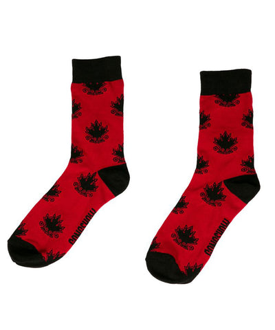 GONGSHOW MEN'S MAPLE LEAVES DRESS SOCKS - RED