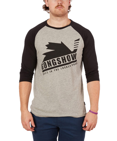 GONGSHOW MEN'S CANUCK 3/4 T SHIRT - GREY/BLACK