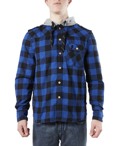 GONGSHOW PLAID FOR THE LAD SR HOODIE - BLUE
