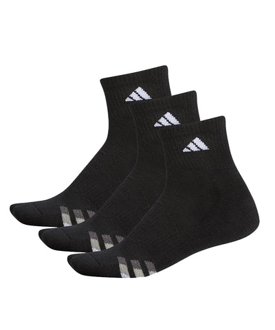 ADIDAS MEN'S 3 PACK CUSHION QUARTER SOCKS - BLACK