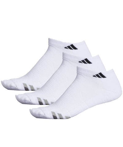 ADIDAS MEN'S 3 PACK CUSHION LOW SOCKS - WHITE