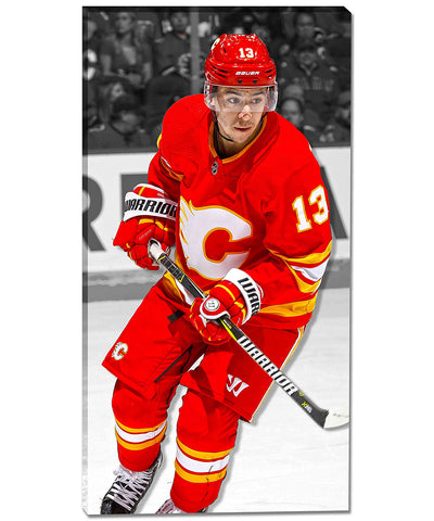 JOHNNY GAUDREAU CALGARY FLAMES AUTHENTIC CANVAS PRINT - 14X28