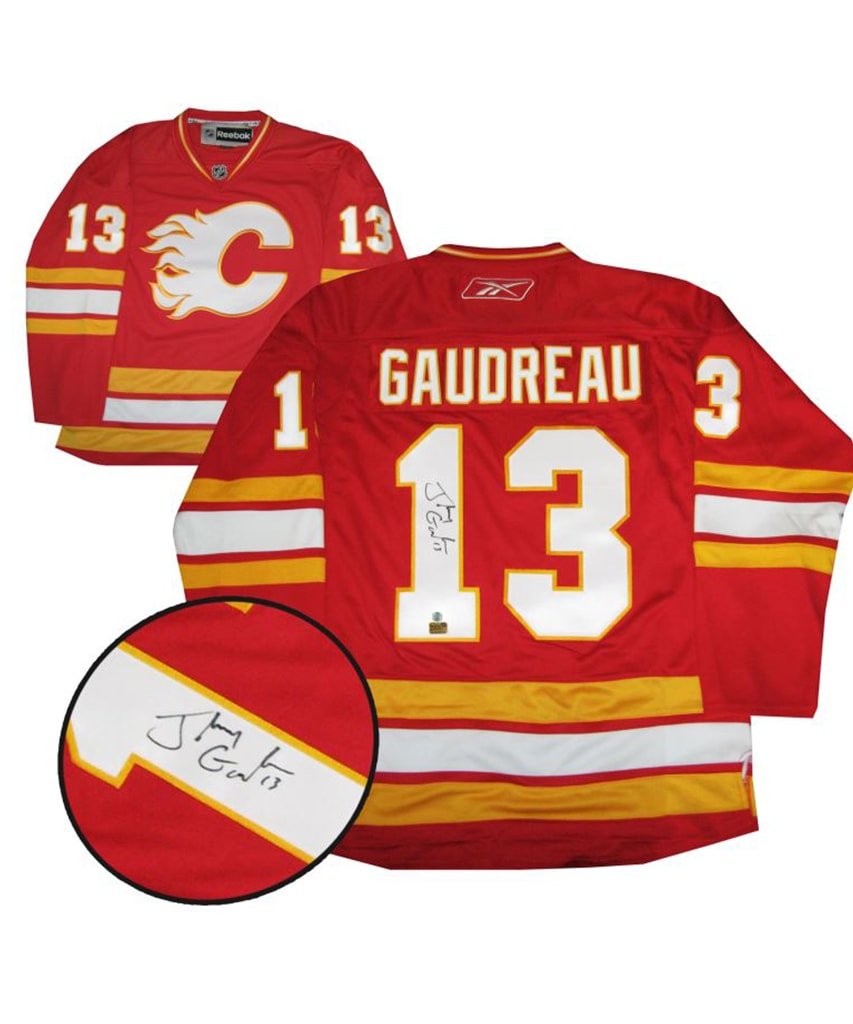 save off 32eb2 5b7dc JOHNNY GAUDREAU CALGARY FLAMES FRAMEWORTH AUTHENTIC SIGNED JERSEY