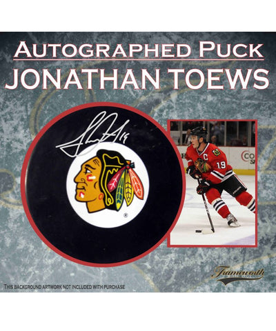 JONATHAN TOEWS CHICAGO BLACKHAWKS FRAMEWORTH AUTHENTIC SIGNED HOCKEY PUCK
