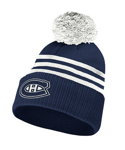 MONTREAL CANADIENS ADIDAS MEN'S NHL 3-STRIPE CUFFED POM TOQUE
