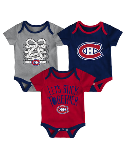 MONTREAL CANADIENS INFANT FIVE ON THREE CREEPER 3 PACK